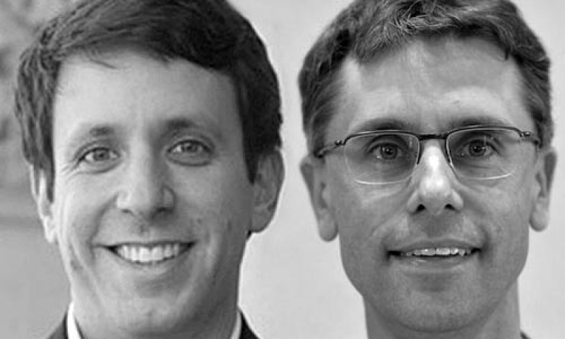 Portraits of Denison professors Adam Davis and Robert Weis