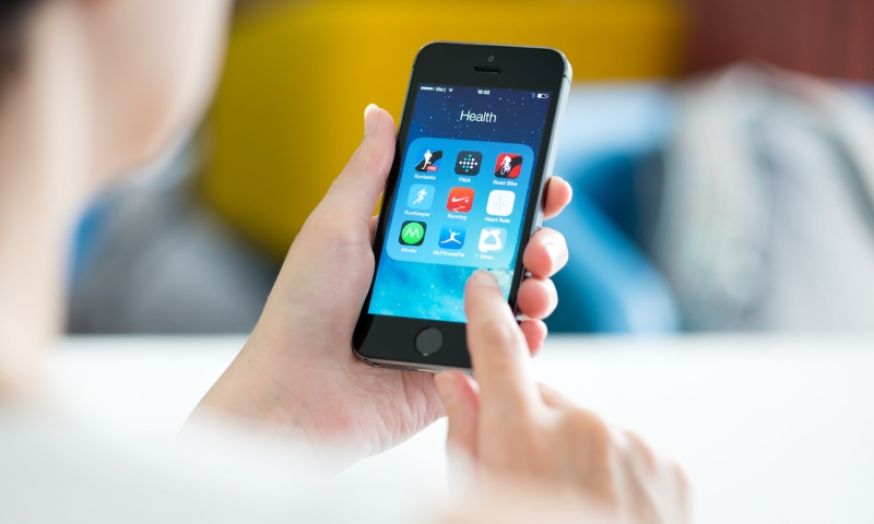 Health applications on cell phone being used