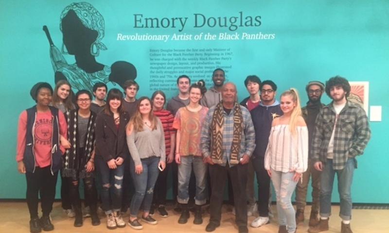 Emory Douglas with Dr. Araiza's seminar class