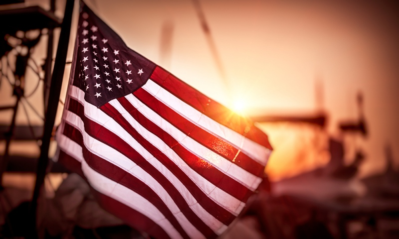 American flag in the sunset