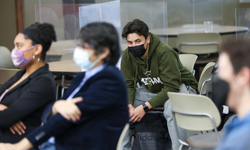 Student in classroom with face mask