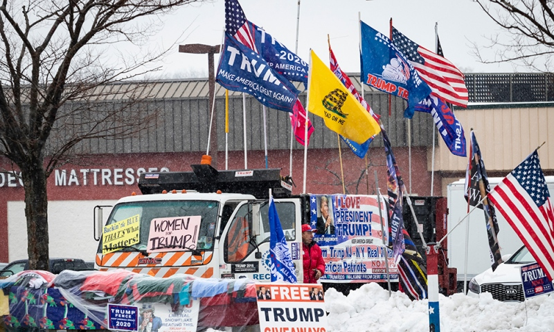 Trump signs and flags