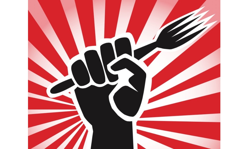 graphic of fist with fork in it