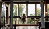 Image of student studying alone in Slayter Hall