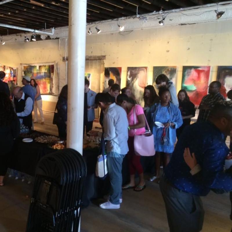 Crowd at Denison Art Space in Newark