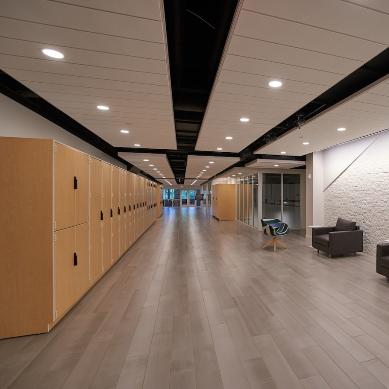 View of hallway/locker space at the Eisner Center for the Performing Arts