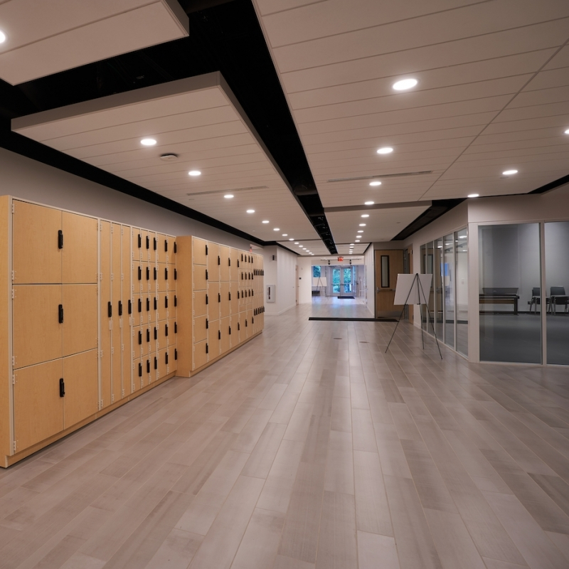 Hallway and locker space at the Eisner Center for the Performing Arts