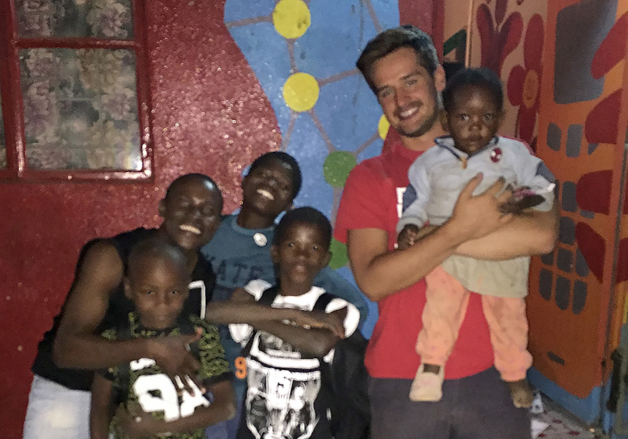Wehman '17 with Namibian village boys